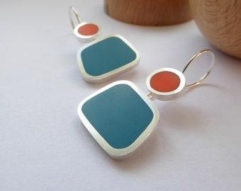 Square Colourful Earrings in Teal & Orange - Modern Earrings - Colourblock Earrings