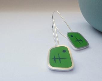 Leaf Green Earrings - Long Drop Resin Silver Earrings Handmade in England - Graphico Atomic