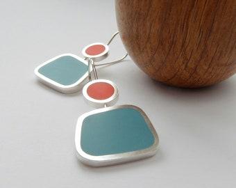 Square Colourful Earrings in Aqua Blue and Orange - Modern Earrings - Colourblock Earrings