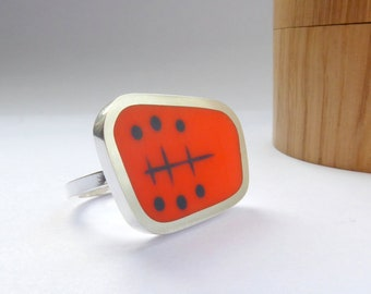 Orange Cocktail Statement Ring - Modern Mid Century Style Ring in Silver & Resin - Atomic Landscape Ring