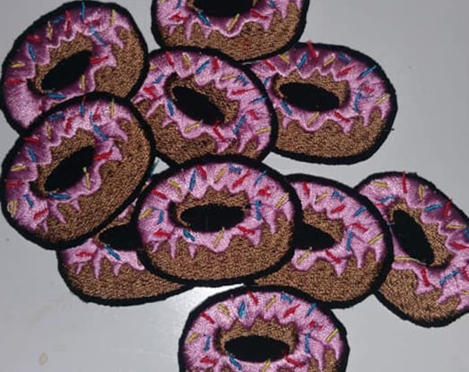 TINY Donut Embroidered  Iron On Patch