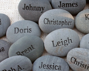 Personalized gifts for party, family reunion, corporate or business event  - engraved name stones - set of 1 to 10