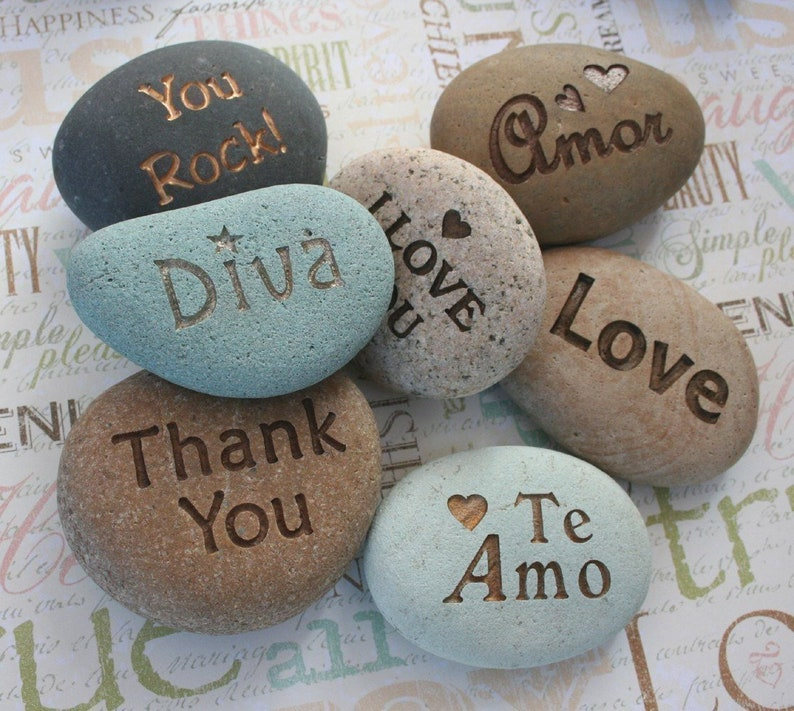 Custom message stones engraving  I Love You & more...  Say image 0