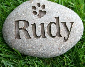 Personalized Pet Memorial Stone  - Pet memorial gift - Natural River Rock Memorial