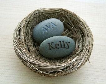 Mom's Nest (c) - Set of 2 name stones in bird nest