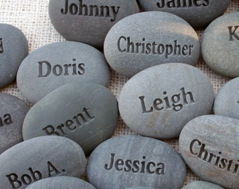 Personalized wedding party gift - for corporate event, party or family gathering - personalized engraved name stones - set of 11-30 stones