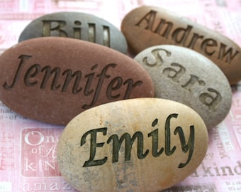 Personalized engraved gift - Customized Name gift - Hand engraved name or word on river rock