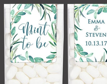 Wedding Favor Stickers for Tic Tac® - Mint to Be Favors Wedding Shower Favor Label - Green Leaves Eucalyptus Branches