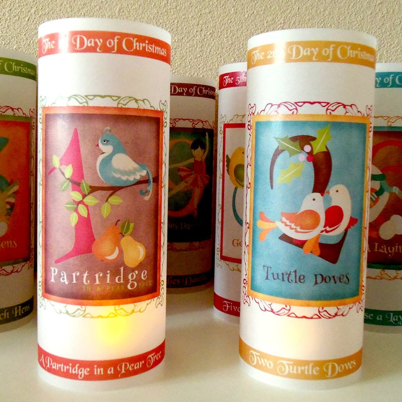 12 Days of Christmas Luminary Decorations Set of 12 Holiday Candle Surrounds Table and Hearth Decorations Christmas Decor