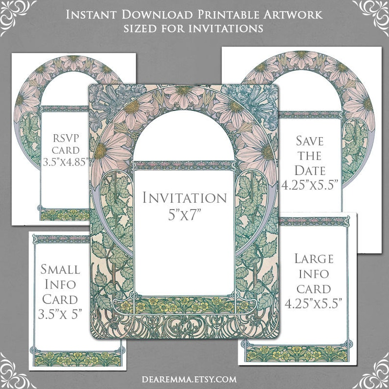 Wedding Invitation Template Graphics For Invite RSVP Save The Date Info Cards