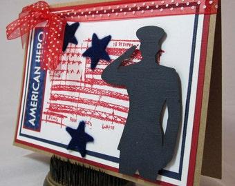 Card Handmade Stamped Patriotic  - kitsnbitscraps