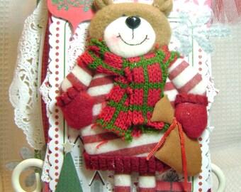 Scrapbook Christmas Album Cheer Bear  by Kitsnbitscraps