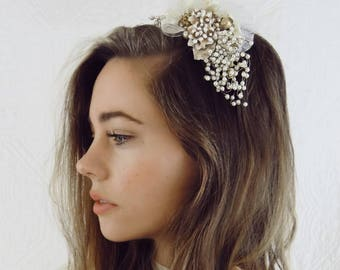 Gold Flower w Cream Pearl Sprays Tulle Ribbon Bridal Headpiece Head Band