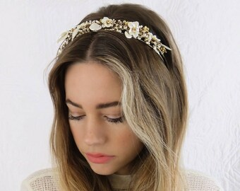 Gold Bridal Headband Headpiece with Rhinestones Pearls and Vintage Pearlised Lucite Flowers HP-15