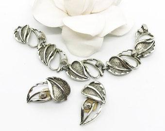 Vintage Signed SARAH COV Windfall Wide Silver Tone Textured Leaf Bracelet Earrings, Open Work Leaves Berries Link Bracelet, Gift for Her