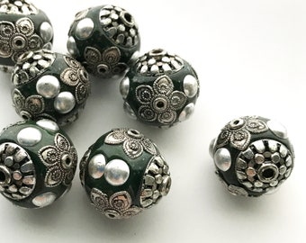 18mm Green 6 pieces Indonesian Style Kashmiri Beads with Crystals K304