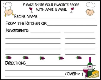 Personalized Recipe Cards 4x6 Bridal Shower Recipe Card Red Purple Mom Gift Cook Dad Gift Chef Mothers Day Fathers Day Custom Colors