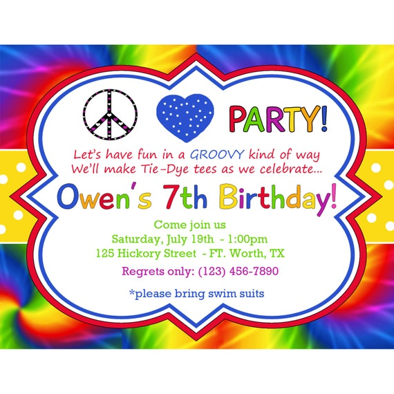 20 personalized birthday invitations tie dye groovy boy etsy