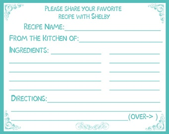 75 Personalized Recipe Cards -  Bridal Shower