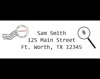 30 Personalized Return Address Labels - Top Secret - Spy Birthday Party - Detective