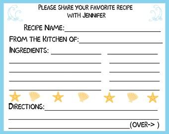 50 Personalized Recipe Cards   - Beach Design