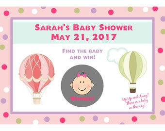 24 Personalized Baby Shower Scratch Off Game Cards- Hot Air Balloon Design - Up Up and Away