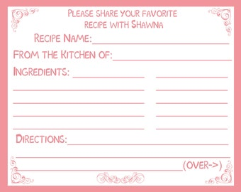 50 Personalized Recipe Cards -  Classic Pink