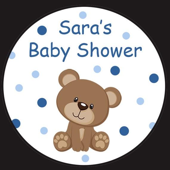 Personalisierte Runde Aufkleber Teddy Bär Baby Dusche Vier Größen Erhältlich 25 2 15 1