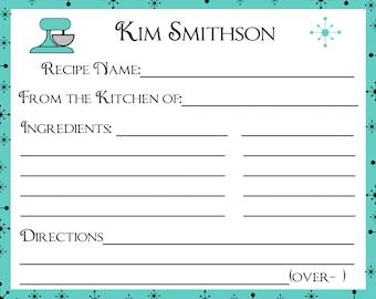 100 Personalized Recipe Cards   Retro Style  -    U Pick Color
