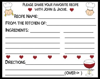 75 Personalized Recipe Cards   - Wine & Ring Design