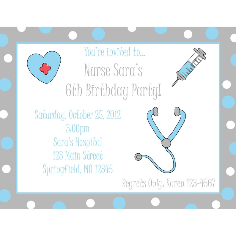 20 Birthday Invitations Nurse Design Party