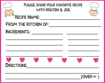 100 Personalized Recipe Cards   PINK Hearts