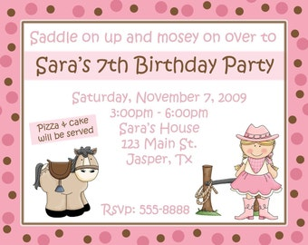 20 Personalized Pink Cowgirl Party Birthday Invitations