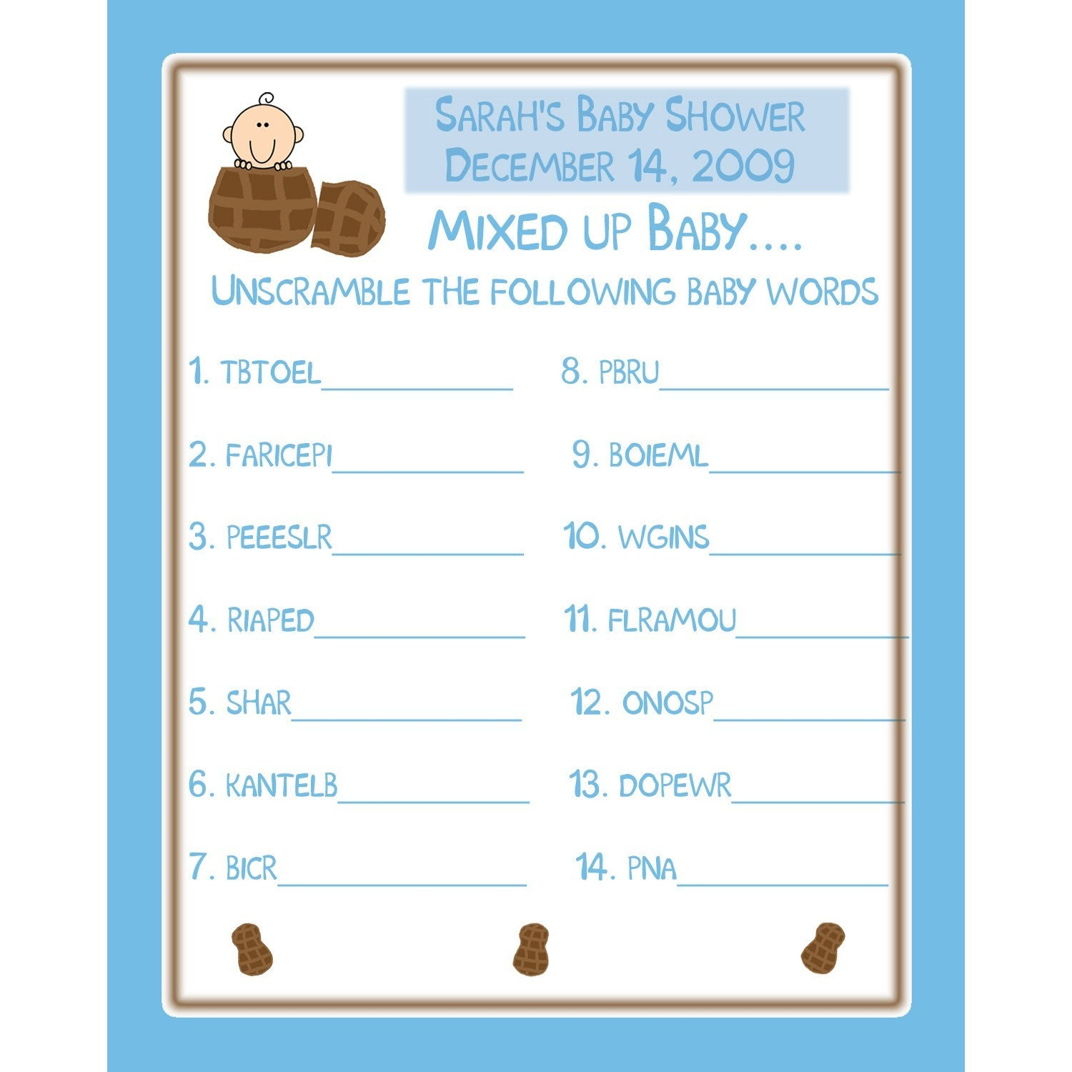 24 Personalized Baby Shower Word Scramble Game Cards