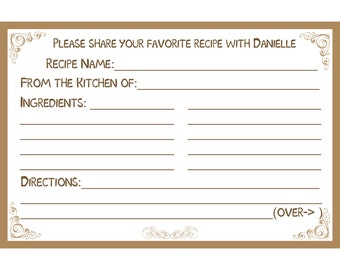 """40 Bridal Shower Recipe Cards   PERSONALIZED  - Brown - Tan -  4x6"""" Size"""