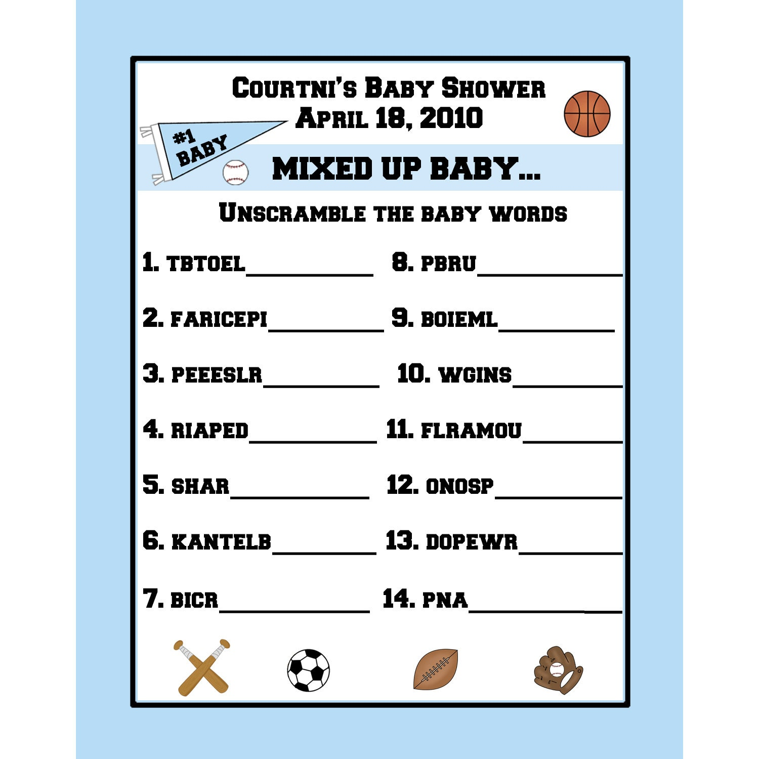 babbee baby shower word scramble answers