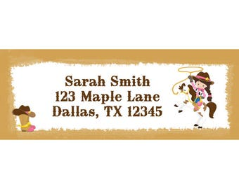 30 Personalized Return Address Labels - Cowgirl Labels - Western Address Labels - Cowgirl Birthday Party