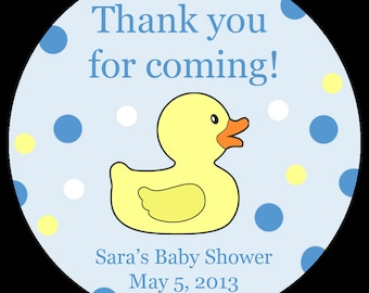 """20 Personalized Round Stickers - Blue Rubber Ducky Baby Shower - 2"""" Inches"""