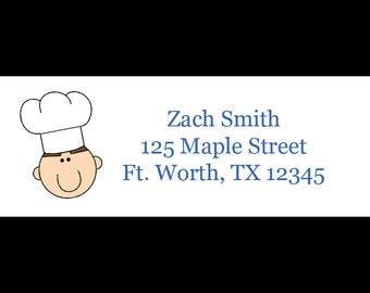 30 Return Address Labels  -   LITTLE CHEF Boy Design