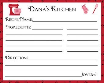 100 Personalized Recipe Cards  - New Red Retro Design