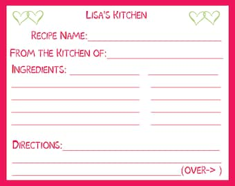50 Personalized Recipe Cards   - Raspberry