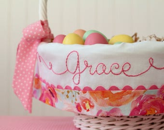 Personalized Easter Basket Liner, Watercolor Fabric, Melon Mist Hot Pink Coral, Girl Easter Basket, fits Pottery Barn Kids