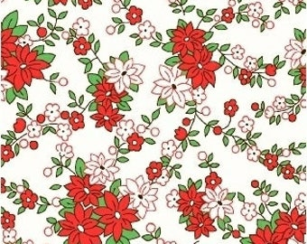 Storybook Christmas by Whistler Studios for Windham Fabrics, White Floral  41749-1 White Floral Christmas Fabric by the Yard