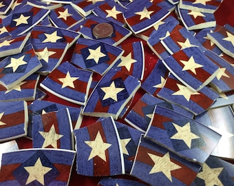 """65+ Extra Large Red, White and Blue """"Spirit of the Flag,"""" Broken China Mosaic Star Tiles Star Tiles"""