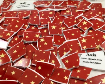 160 Red With Yellow Stars Broken China Tiles