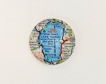 Lake Tahoe Vintage Map Magnet, map gifts for traveler, fridge magnet, unique gift, glass magnet, Lake Tahoe magnet, Tahoe Souvenir,