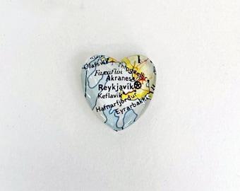 Reykjavik Iceland Vintage Map Magnet, Heart Shape magnet, honeymoon, destination wedding gift, travel souvenir gift, map gifts, Iceland