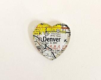 Denver Vintage Map Magnet.  Heart Shaped, Denver magnet, map gifts, unique guy gift, Colorado magnet, Mile High City, Denver CO souvenir