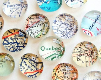 Custom Vintage Map Magnets, Set of 4 you pick the locations, map gifts, travel gift for him, souvenir, gift for traveler, personalized gift