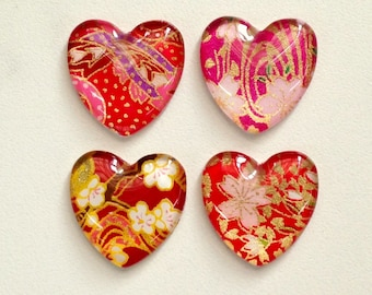 Heart shaped magnet, set of 2 glass magnets, fridge magnets, colorful Japanese yuzen designs, strong magnets, valentines day, heart magnet